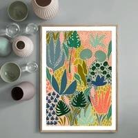 Affiches de plantes de jardin multicolores  style nordique abstrait  galerie moderne  peinture sur toile murale  images imprimees  decoration de maison