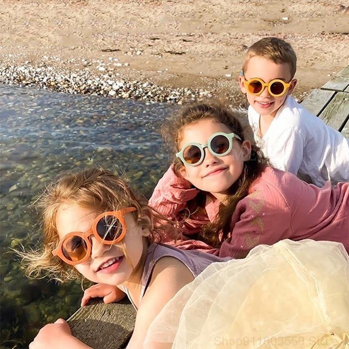 GOZLUGU Fashion Round Kids Sunglasses Girls Boys Glasses Baby Outdoor Goggles UV Protection Vintage
