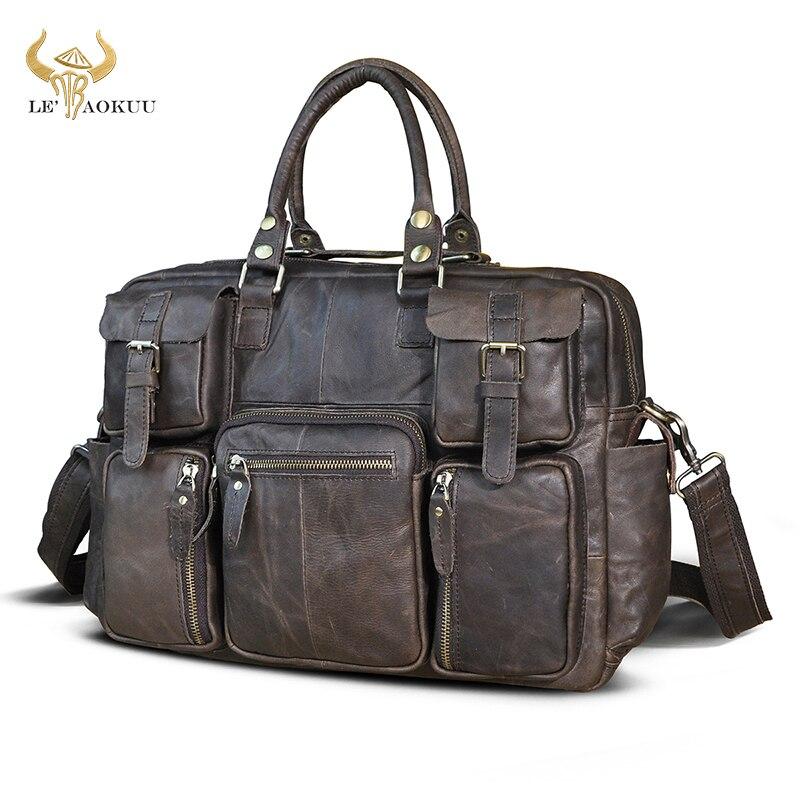 Natural leather Men Fashion Handbag Business Briefcase Commercia Document Laptop Case Design Male Attache Portfolio Bag 3061