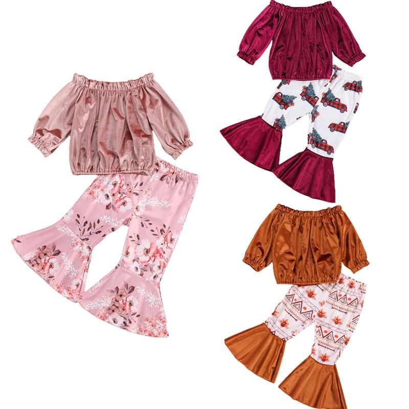 От 0 до 5 лет, модные комплекты одежды для маленьких девочек бархатные топы с длинными рукавами и открытыми плечами, расклешенные штаны с при...