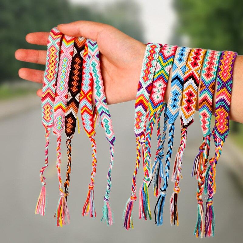 1,4 cm de ancho Retro hecho a mano Boho brasileño Multicolor cuerda cordón trenzado Hippie pulseras de la amistad