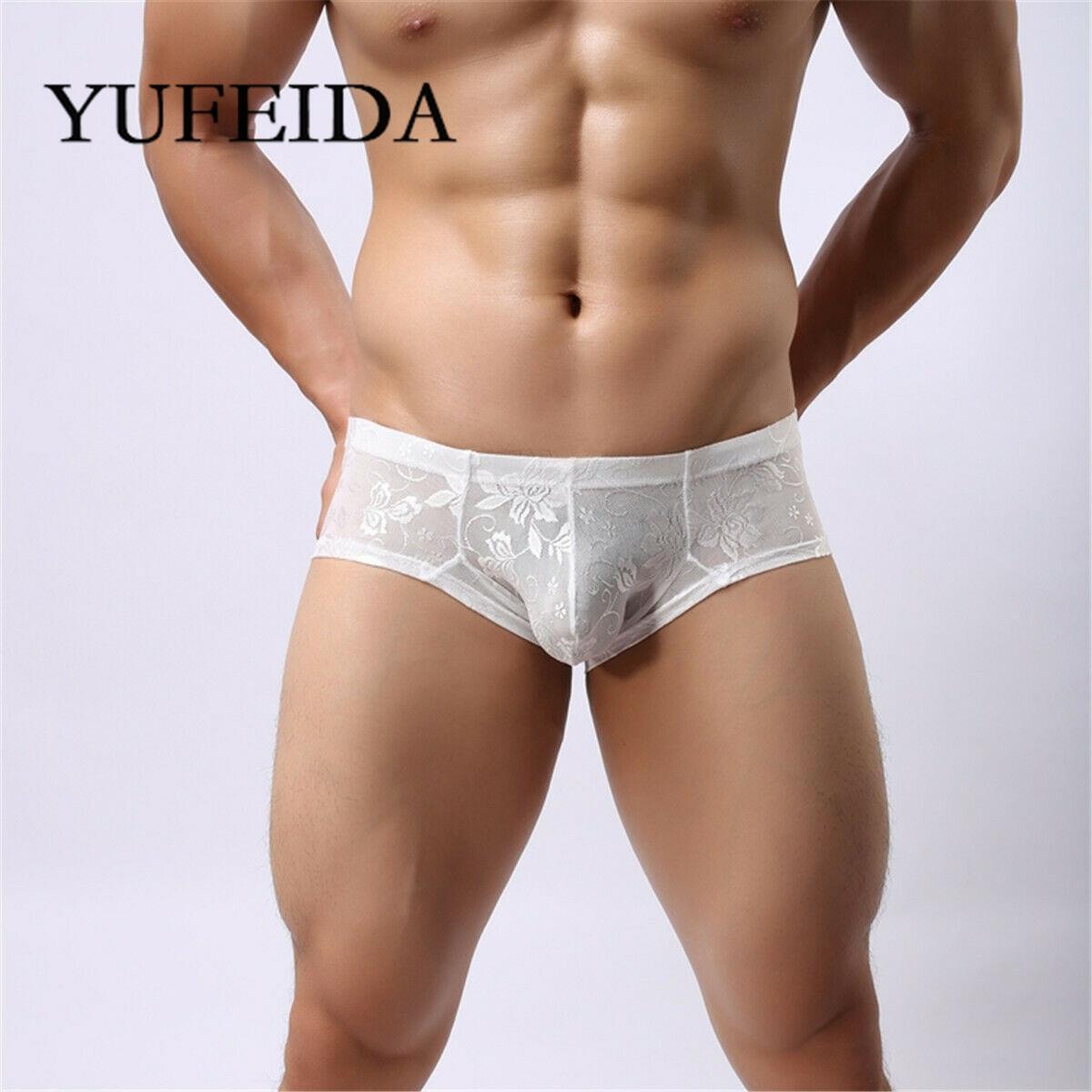 Ropa interior YUFEIDA para hombre, calzoncillos Boxer de cintura baja, bolsa convexa en U, Boxers de encaje, bañadores, calzoncillos sexis para hombres, bragas masculinas Cueca