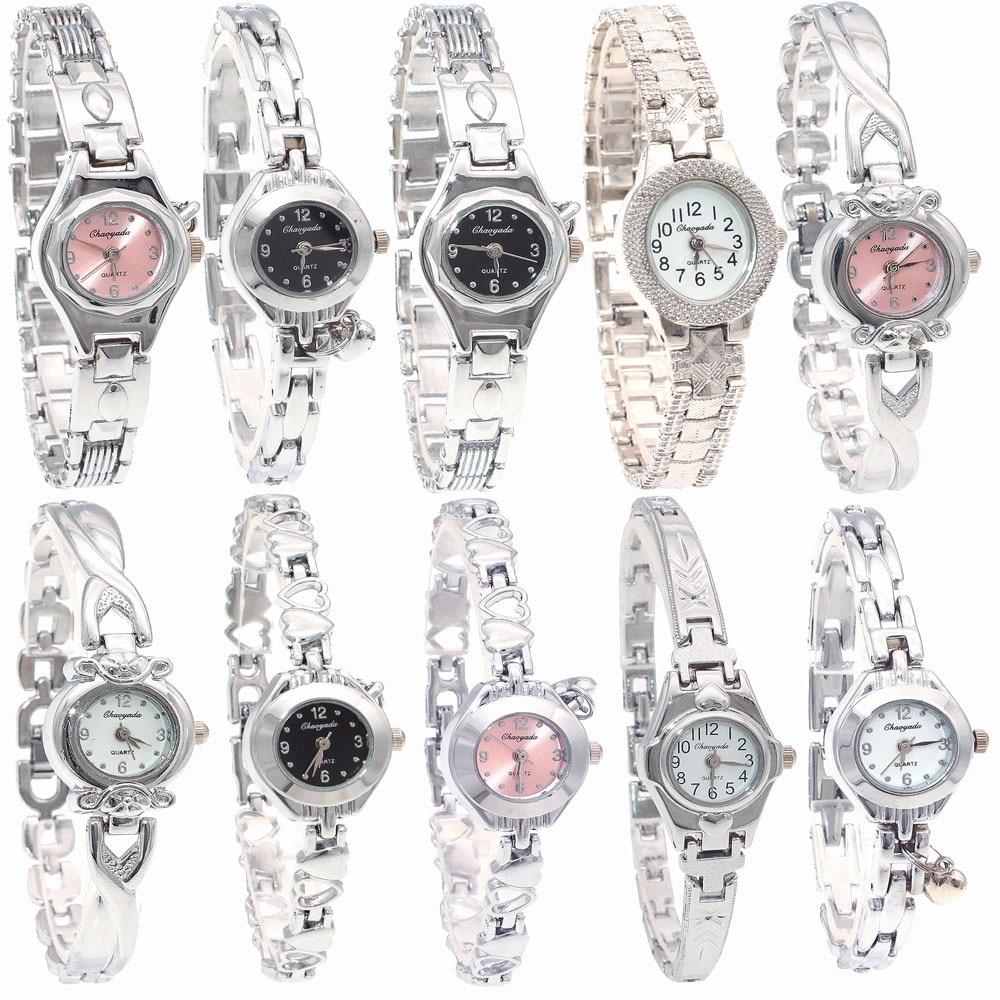 10PCS/Lot Mixed Bulk Cute Watch Women Watches Ladies Women Girls Silver Watch Stainless Steel Quartz Dress Wristwatch Gifts