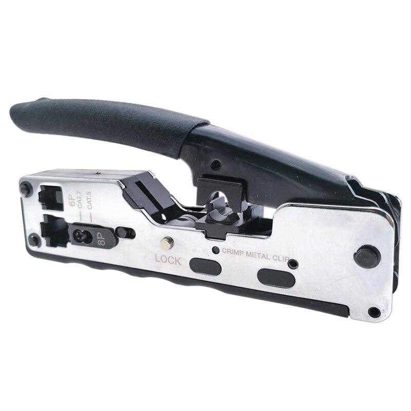 Ferramenta de friso de Metal Clipe Rj45 Stp cabo de Rede Crimper Friso Ferramentas Para Cat7 Cat6 Cat5E Cat5 Rj45 Plugs Conector de Cabos