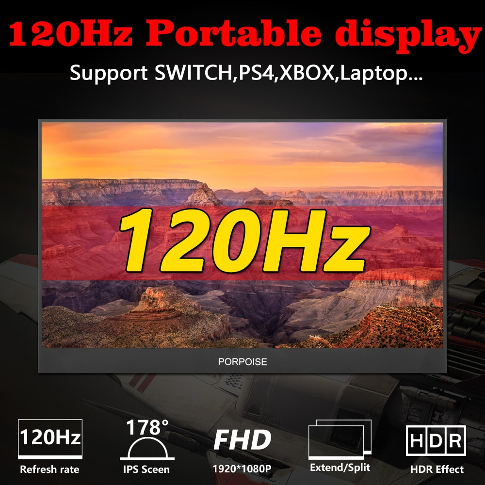 17.3 inch portable monitor narrow side computer extension 1080p 120Hz  Cscreen Ps4 Switch Xbox Huawei phone gaming monitor