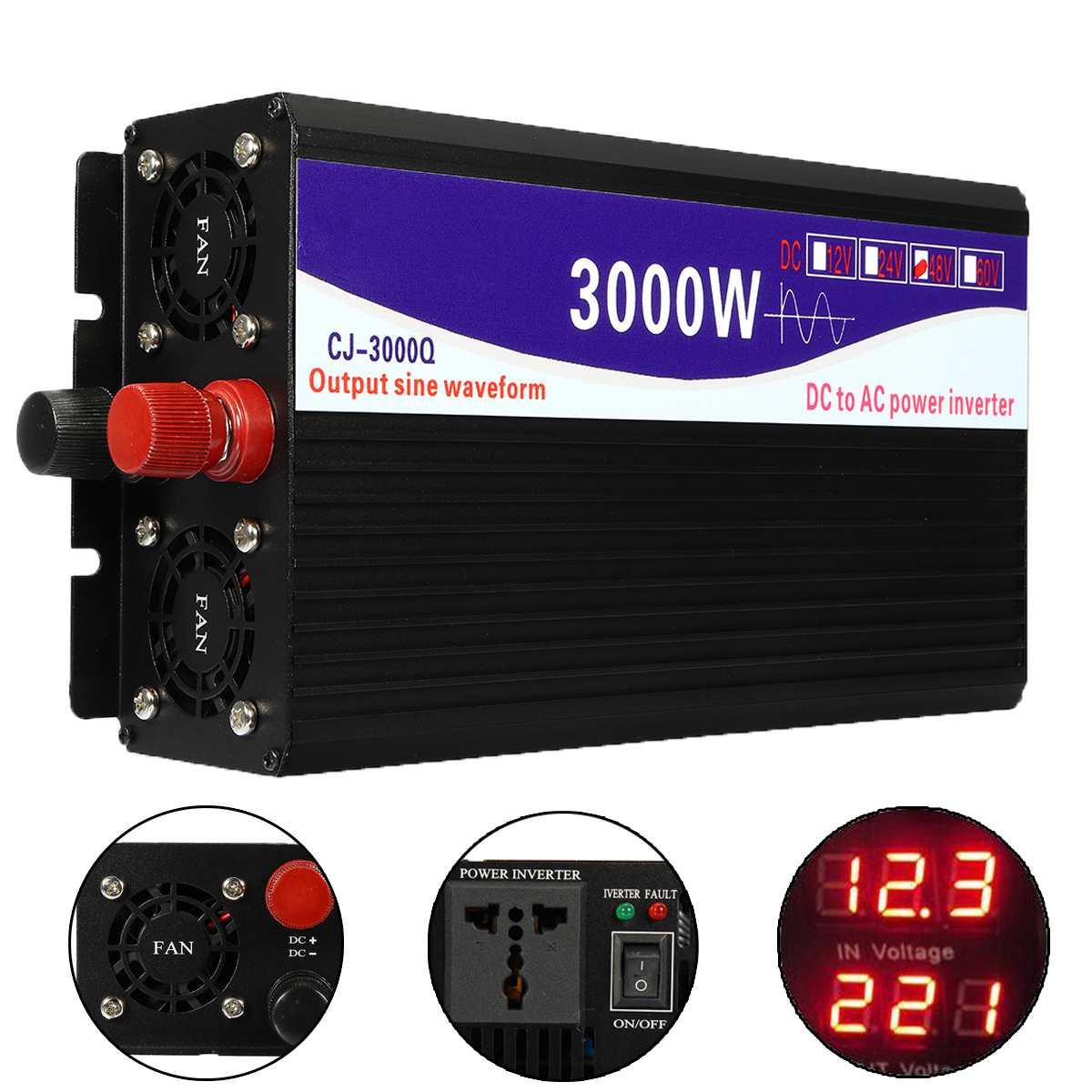 3000 Вт Чистая Синусоидальная волна инвертор 12 В/24 В/48 В до 220 В ЖК-дисплей трансформатор напряжения конвертер для дома