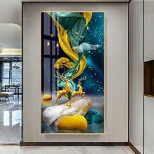 Абстрактный Золотой олень Современные настенные картины синий холст картина, печатный плакат wall art Для Гостиная nordic спальня