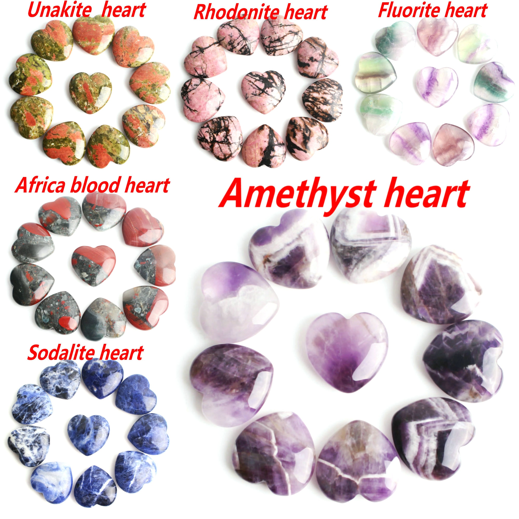 10 Uds. Colgante de cristal Natural con forma de corazón Tigre piedra de ojo cuarzo rosa fluorita amatista fluorita collar de piedras preciosas curación Reiki