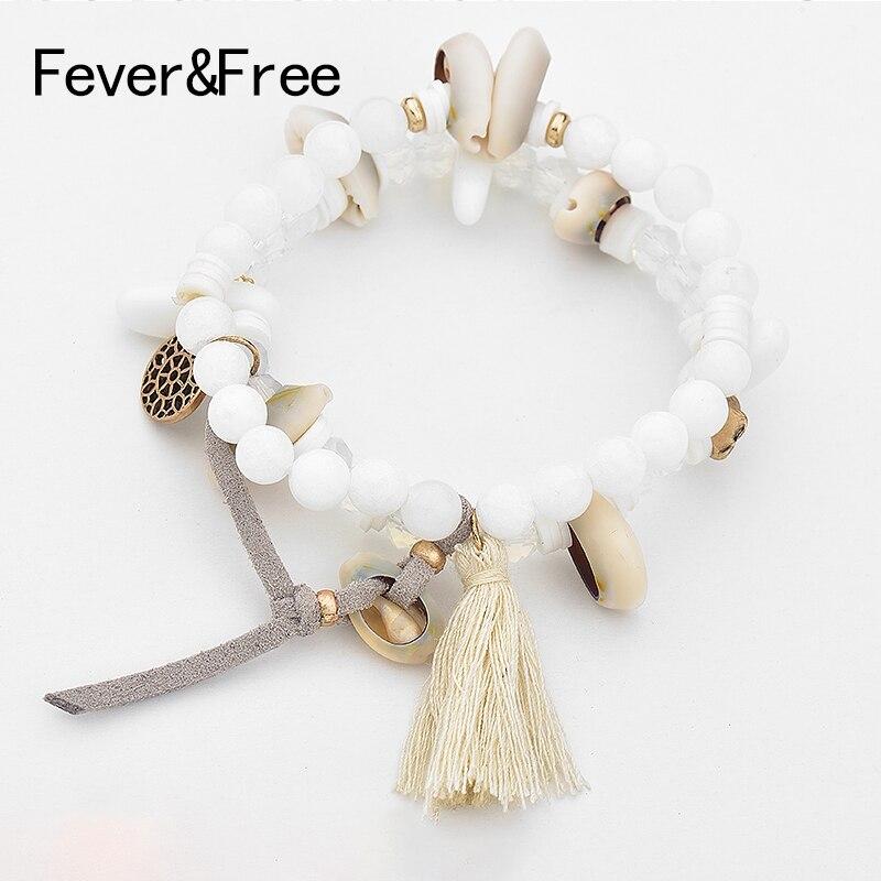 Fever & livre feito à mão cordão grânulos boho pulseira para mulher natural pedra charme pulseira mão braclet jóias acessórios atacado