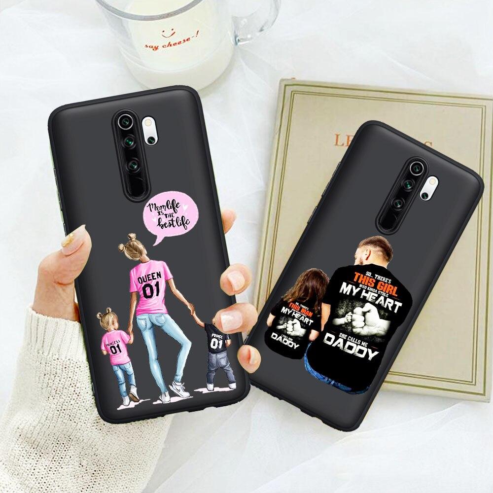 Moda negro marrón pelo bebé mamá hija hijo niña papá funda de teléfono para Xiaomi rojo mi nota 5 6 pro 7 8 8 Pro mi 9T Pro K20 Pro