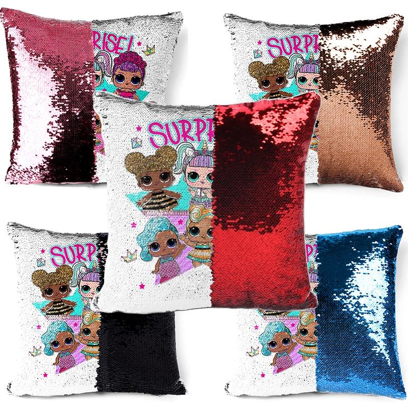 Funda de almohada Original LOL surprise dolls Cute confeti lentejuelas dibujos animados Anime interior sofá lentejuelas funda de almohada cojín 40*40cm