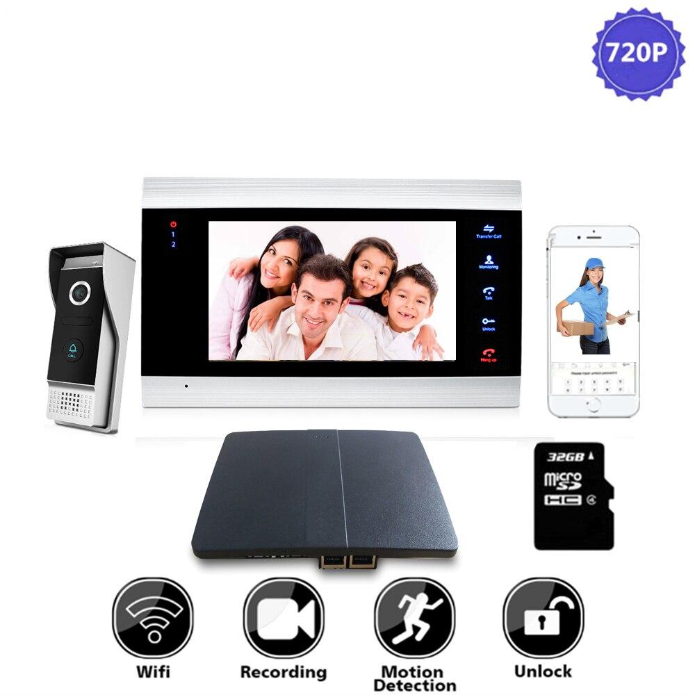 7 pulgadas WiFi IP Video puerta teléfono timbre hogar sistema de Control de acceso Smart Motion registro alarma Wifi Box