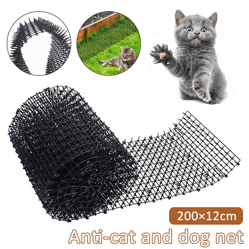 200x12cm Black Dog Repeller Cat Repellent Mat With Spike Portable Household Anti-Cat Dog Mat Deterrent Outdoor Garden Supplies