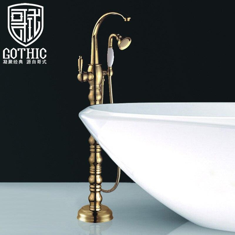 حوض استحمام للاستخدام في الحمام صنبور جميع النحاس الأوروبي ريترو ستايل مطلية بالذهب دش صنبور الطابق الذهبي حامل حمام خلاط دش مجموعة