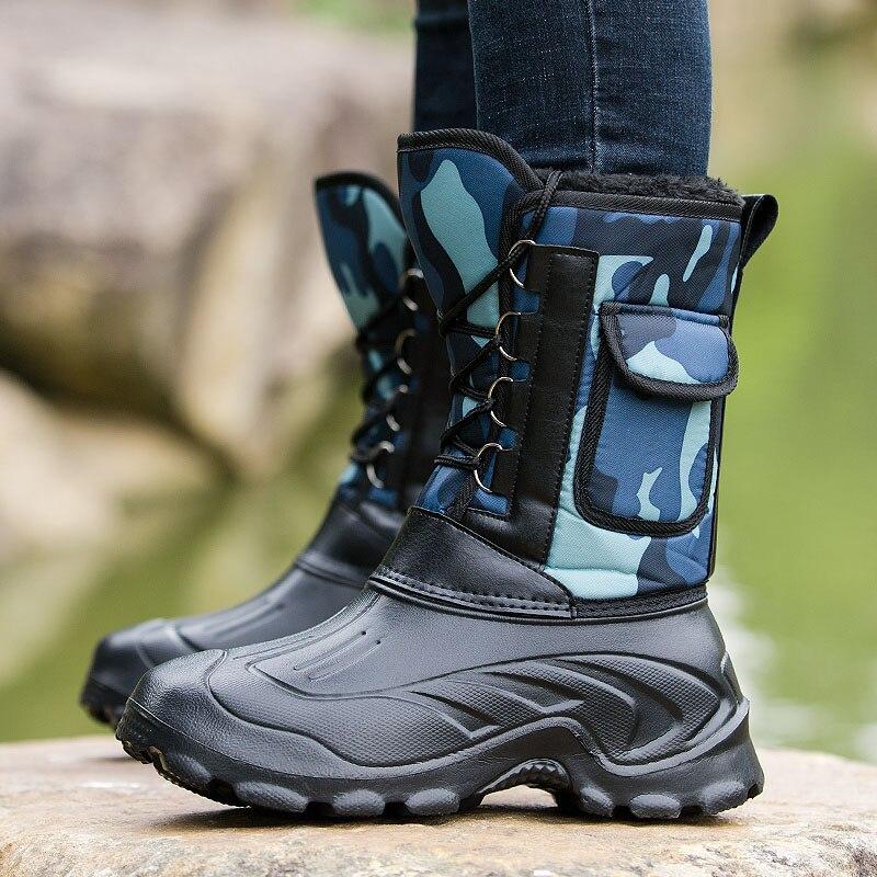 Botas de Neve à Prova Sapatos de Pesca Botas de Inverno Pele ao ar Botas de Camuflagem Sapatos de Inverno Dwaterproof Água Homens Quente Livre Camo Caça Tamanho 41-46