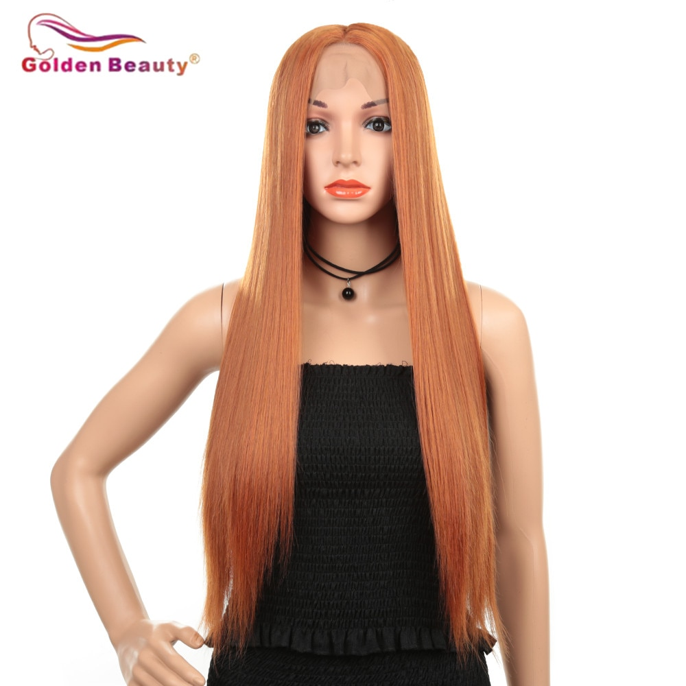 Peruca reta longa perucas sintéticas do laço da parte dianteira para as mulheres com parte média resistente ao calor peruca cosplay cor laranja beleza dourada