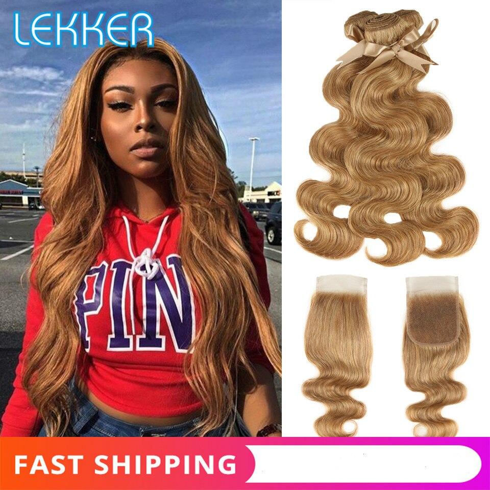 Paquets de vague de corps avec fermeture paquets de cheveux mongols avec fermeture Remy cheveux humains tisse Blonde 27/30 mélanger les cheveux de couleur pour les femmes