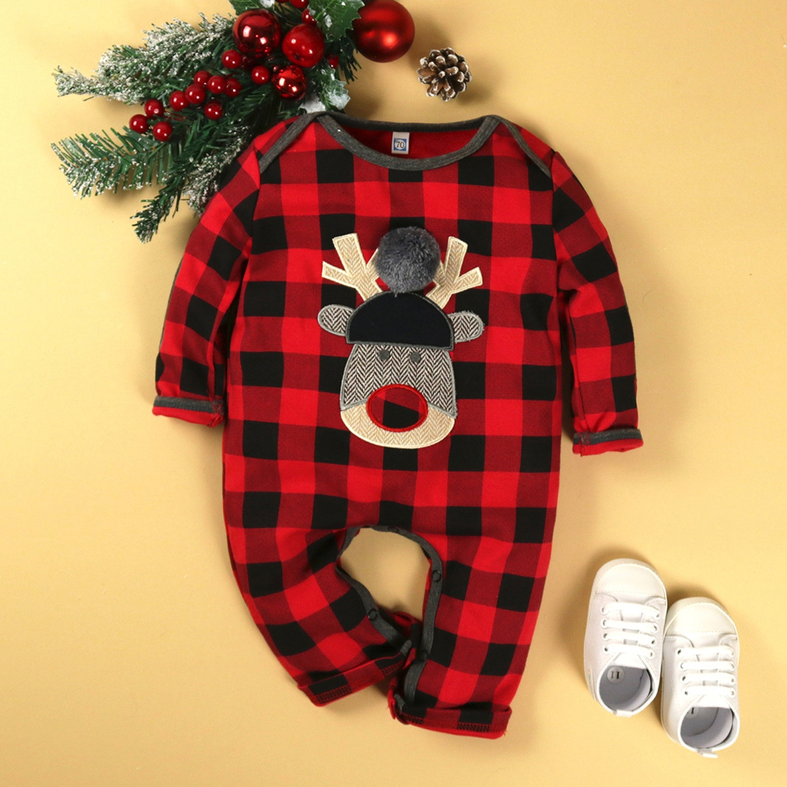 6M-24M Baby Winter Romper Christmas Long Sleeve Plaid Christmas Fawn Print Romper Hot Sell Clothes V