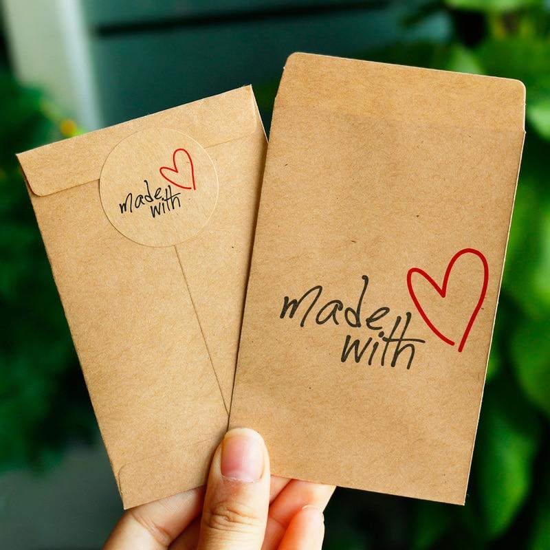 Bolsa de papel de regalo de 50 piezas hecha con amor gracias bolsa de papel Kraft con pegatina de papel fiesta regalo de boda embalaje caramelo bolsa de embalaje
