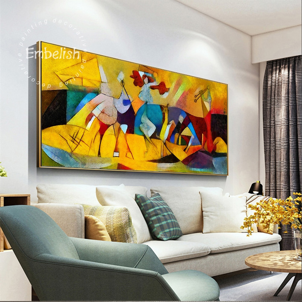 Embelish, 1 pieza, imágenes artísticas abstractas de pared para sala de estar, decoración moderna para el hogar, obras de arte famosas de Picasso, pintura al óleo en lienzo HD
