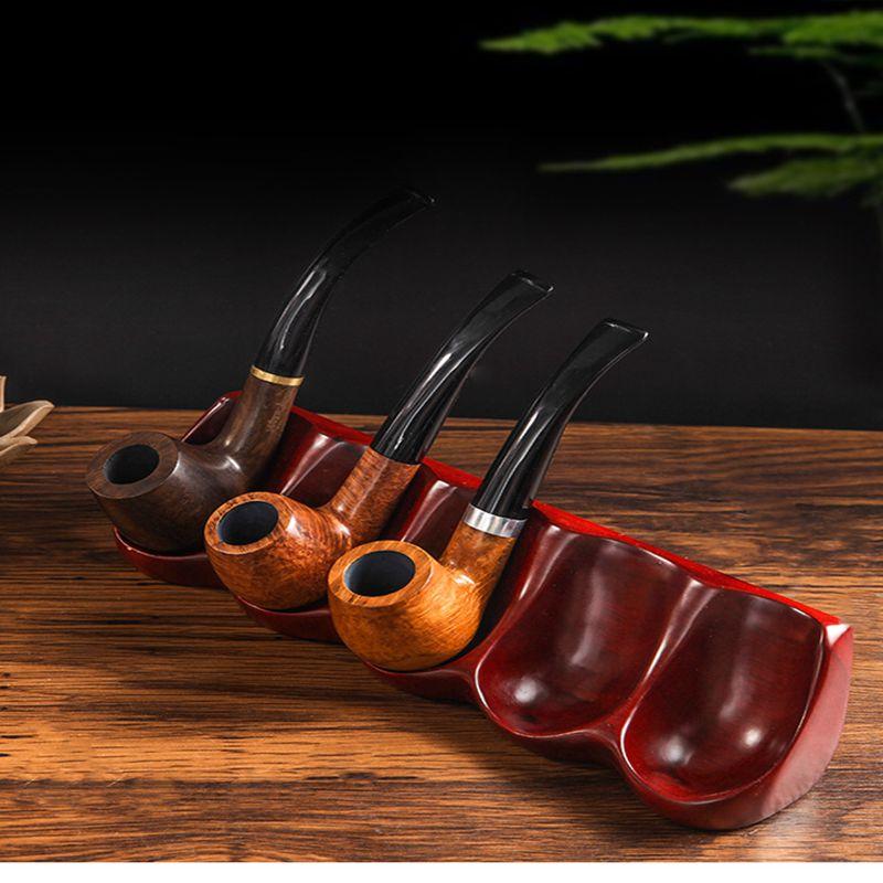 Acessórios para Fumar 5-posição em Forma de Colher Upscale Redwood Integrado Tubo Rack Natural Sólido Stands Artesanal