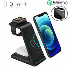 3 in 1 Wireless Charger Stand For iPhone 11/12 Pro Max Qi 15W Fast Charging Induction Chargers For Apple Watch 6 5 4 AirPods Pro