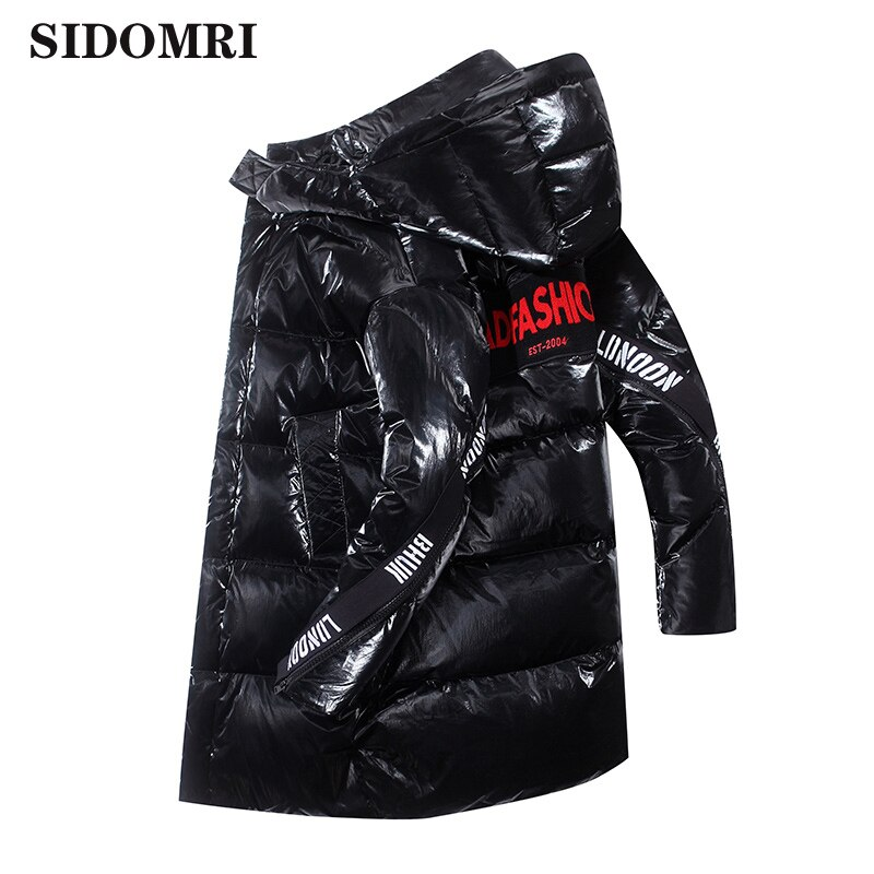 Winter down jacket hooded man mid-long handsome popular logo trend fashion coat for men warm and comfortable down jacket