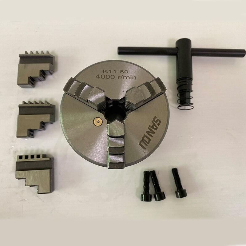 مخرطة تشاك 3 الفك الذاتي توسيط تشاك K11-80 العالمي تشاك SANOU العلامة التجارية مخرطة ملحق لمخرطة صغيرة