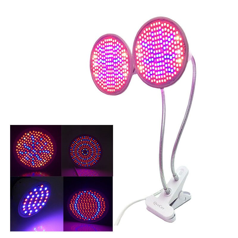 Planta de doble cabeza LED cultivo luz flor espectro completo 200LED para habitación interior verde casa semillas de vegetales Fito clip