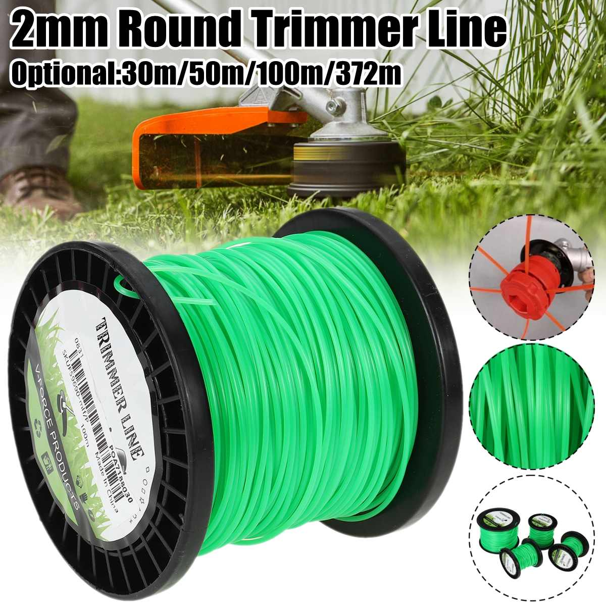 2mm x 50m/100m/372m Strimmer Line Brushcutter Parts Grass Trimmer Nylon Garden Cord Wire Round String Home Garden Tool Supplies