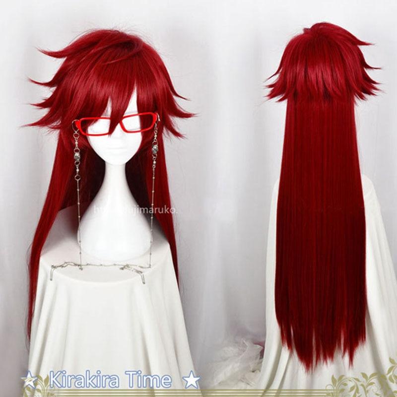 Anime Kuroshitsuji Black Butler Grell Sutcliff Cosplay pelucas Rojas largas resistentes al calor pelucas de pelo sintético + gafas de cadena de cráneo