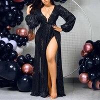 fashion sequins sexy long dress women designer v neck club black party dresses elegant evening robe 2021 summer dress