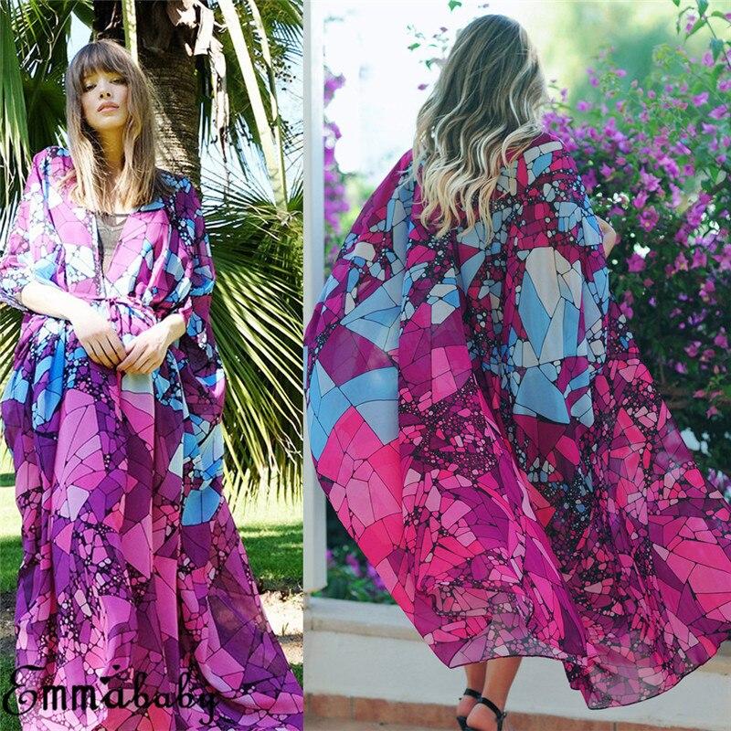 2019 bohemio Floral impreso Camisa de gasa mujer Cardigan largo Vintage verano playa Kimono Femininas blusa Maxi Vestido