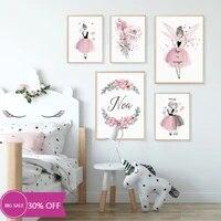Affiches de peinture en toile rose fille fleurs  tableau dart mural pour decoration de salon  decoration de maison