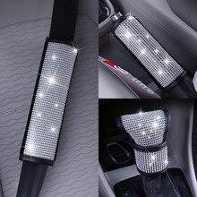 Luxo strass acessórios do carro cristal diamante caixa de velocidades lidar com capa de freio mão cinto de segurança do assento do carro capa de ombro