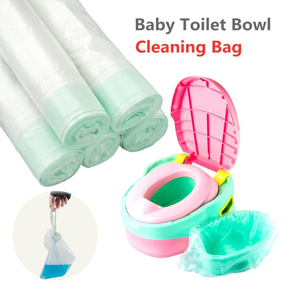 100 Uds. Orinal portátil para bebé, bolsas para limpieza, asiento de entrenamiento, asiento de inodoro para bebé, bolsas de basura, orinal de viaje, forros desechables con cordón
