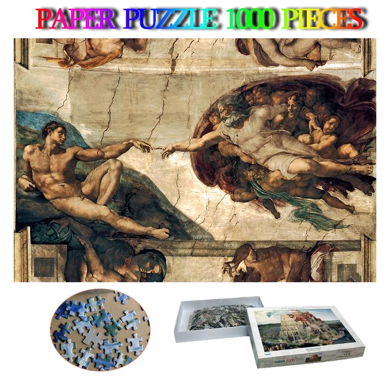 A criação de adam quebra-cabeça de papel adultos 1000 peças quebra-cabeças mito paisagem quebra-cabeça 1000 peça adulto brinquedos presentes