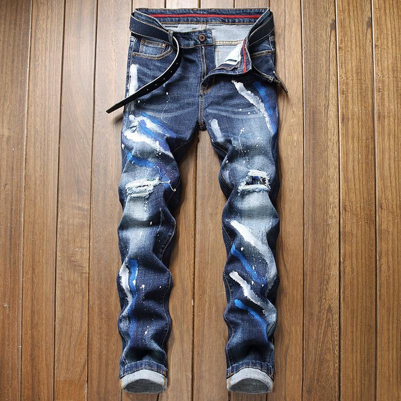 Новинка 2022, мужские рваные джинсы, Мужские Стрейчевые джинсы, джинсы с прямыми трубками, модные индивидуальные свободные джинсы