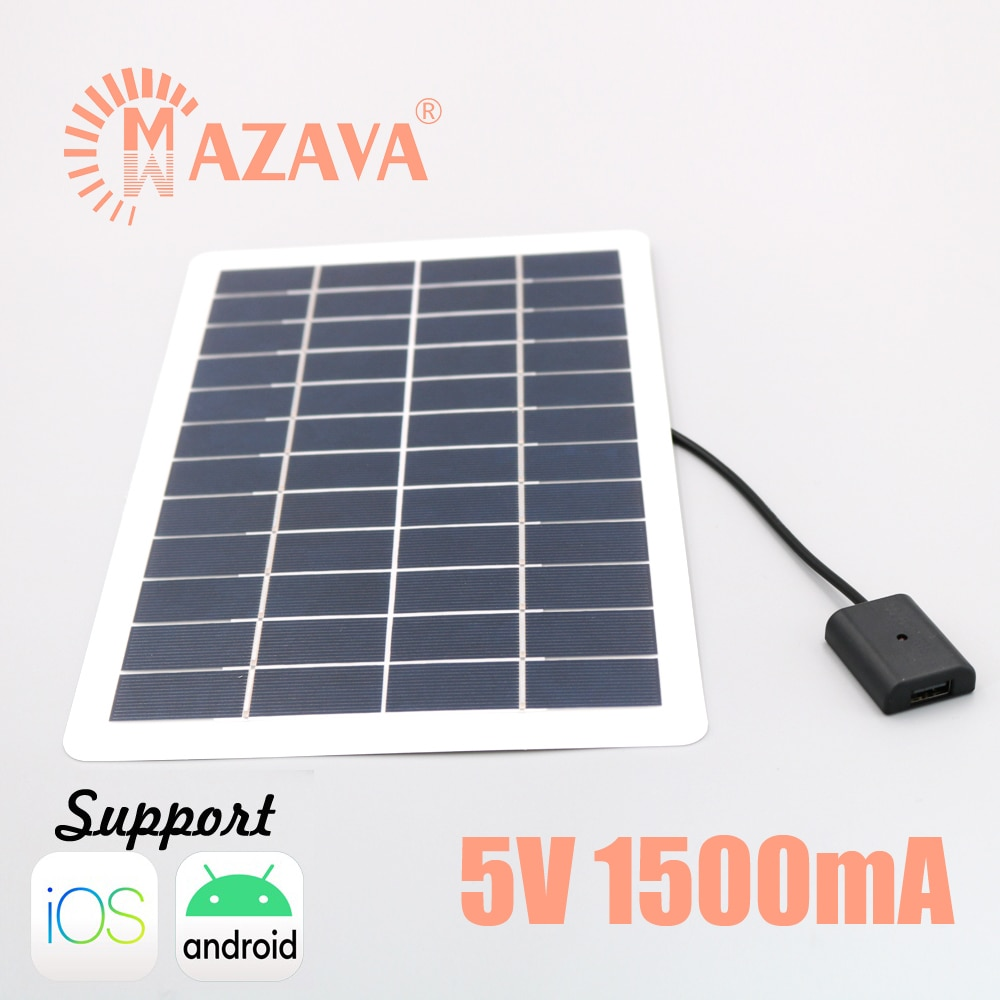 1Pcs 1500mA 5V 7.5W Output USB Solar Battery Solar Panel Outdoor Portable Solar Charger Pane 18650