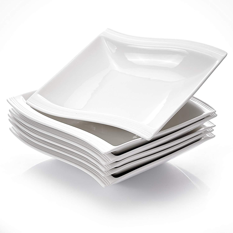 "MALACASA Flora 6-Piece 8.25"" White Porcelain Ceramic Deep Dinner Plates Soup Plates Salad Dishes Bowls Dinnerware Set"