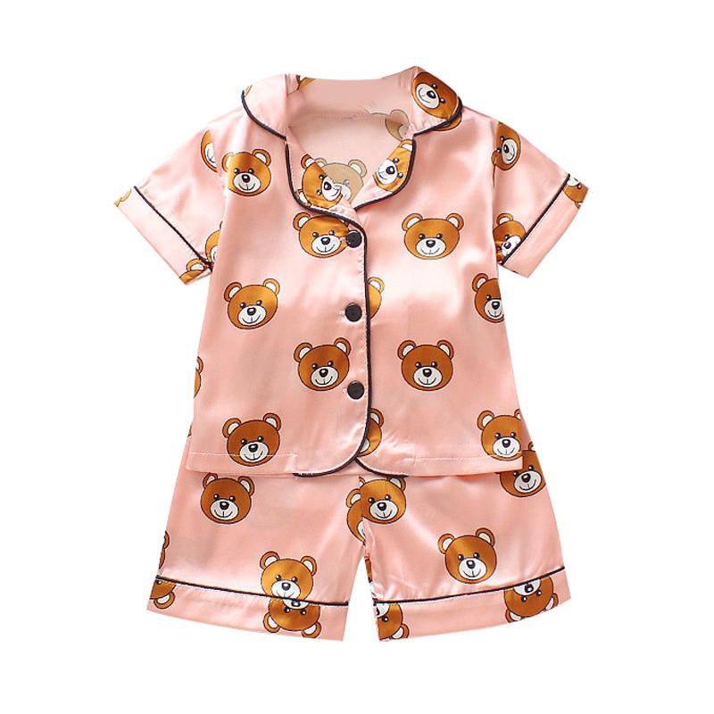 Bebê Meninos Meninas Pijamas de Impressão Dos Desenhos Animados Urso Roupas Definir Blusa de Manga Curta Tops + Shorts Pijamas Pijamas Crianças Roupas