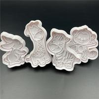 4 шт./компл. Пластиковая форма для печенья в виде кролика, обезьяны, кухонные инструменты для украшения тортов «сделай сам», резак для печень...