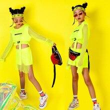Hip Hop niños danza Jazz disfraz de manga larga de fluorescencia Top pantalones niñas pantalones Hiphop Ropa de baile etapa mostrar desgaste DQS2553