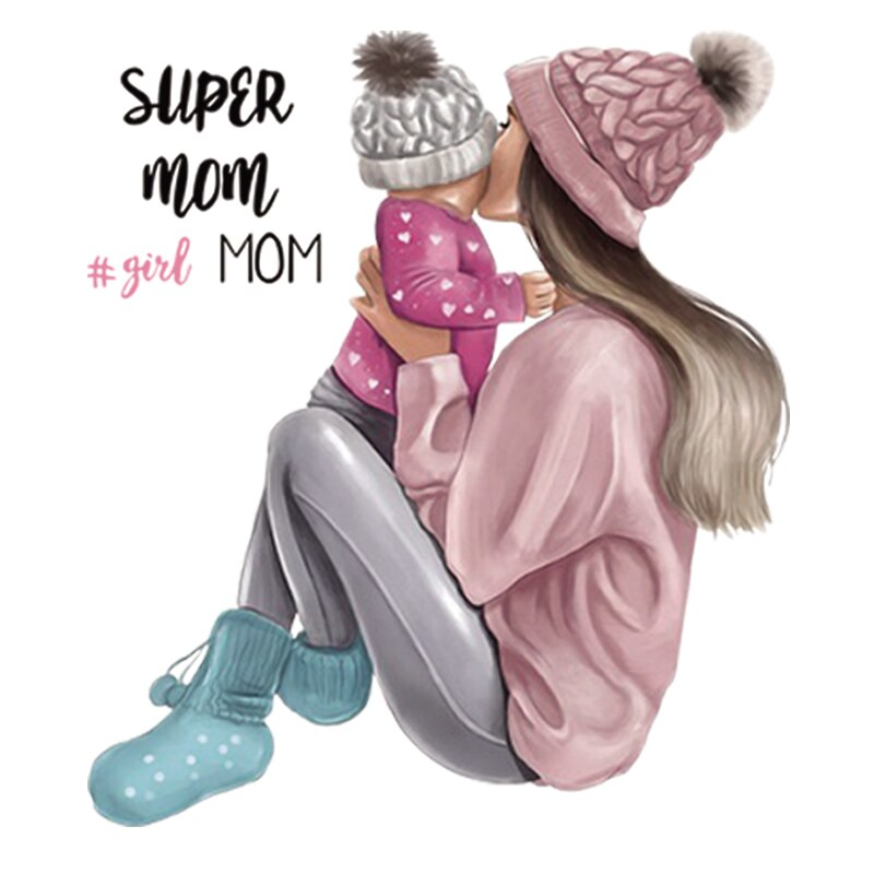 Parches termoadhesivos de super mamá a rayas para niños y niñas, parches termoadhesivos para planchar en la ropa, apliques de flores para la ropa