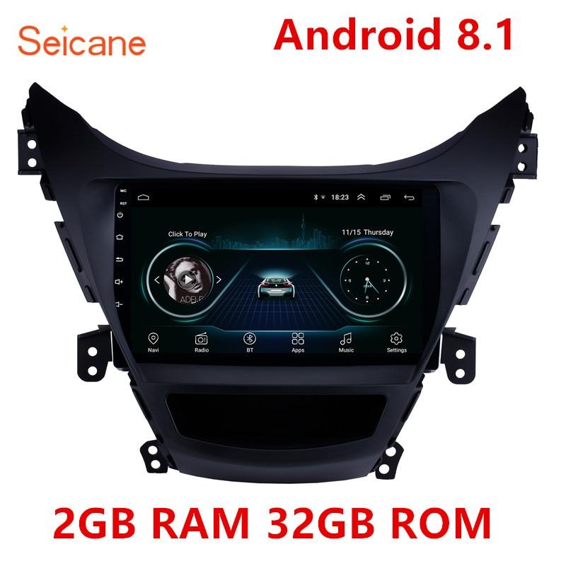 high Version RAM 2GB+ ROM 32GB Android 8.1 9 inch 2Din Car Radio GPS Multimedia Unit Player For 2011 2012 2013 Hyundai Elantra