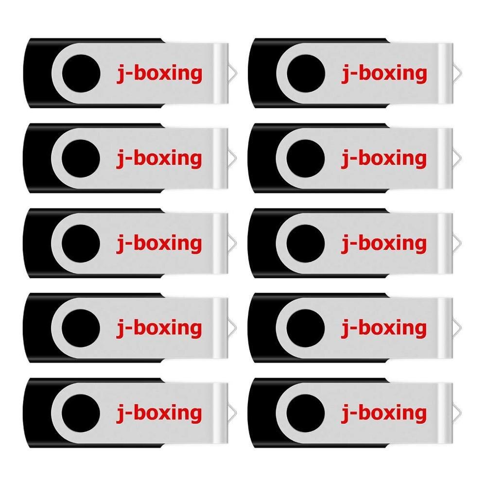 J-boxing 32GB 8GB 16GB USB Flash Drive Metal Swivel Memory Stick Black Rotating Pen Drives Thumb Storage 1GB 2GB 4GB 10PCS/Pack
