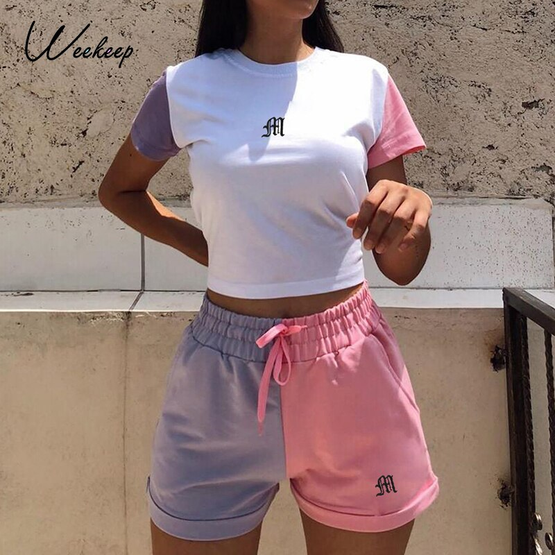 Weekeep Contrast Color Patchwork Two Piece Set Women Crop Top and Drawstring Shorts Chic Matching Suit Outfits Summer Clothing