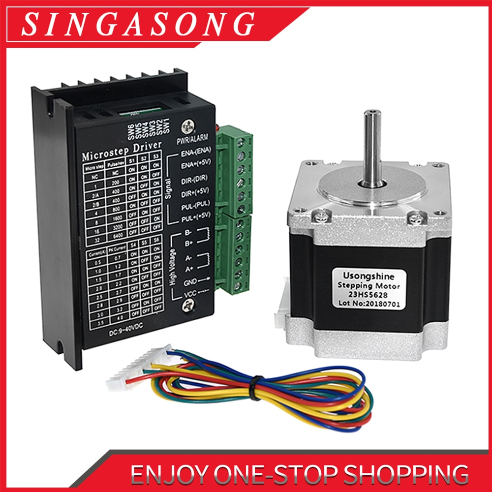 Usongshine Nema 23 23HS5628 Stepper Motor 57 motor 2.8A with TB6600 4A stepper motor driver NEMA17 2