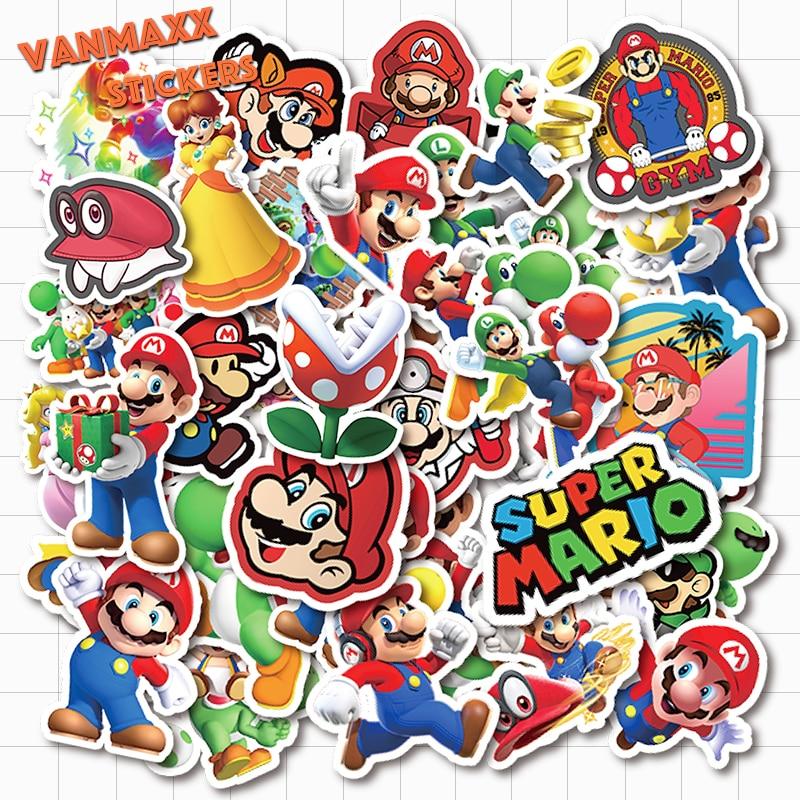 50 pcs Mario Jump Man Cartoon Vinyl Waterproof Stickers for Kids Teens Adults Luggage Laptop Bike Skateboard Supplies
