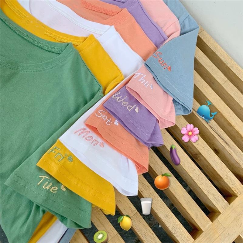 Doce cor tshirt algodão bordado feminino segunda-feira a domingo coração bonito t camisa básica superior menina escola outfit kawaii dropshipping